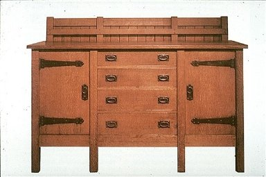 Sideboard with Iron Strap Hinges