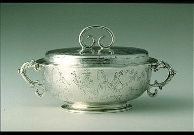 Covered Two-Handled Bowl