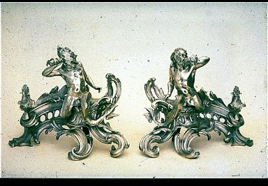 Pair of Chenets (Firedogs) with Tritons Blowing Conch Shells