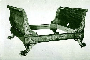 Mahogany Sleigh-Shaped Bed