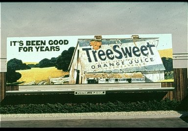 Treesweet Advertisement Reminscent of the Earlier Advertising Graphics on Barn Roofs of Rural America