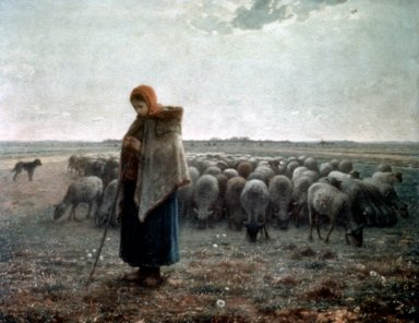 Shepherdess Tending her Flock