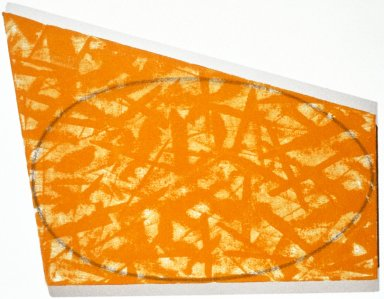 Irregular Yellow, Orange Area with a Drawn Ellipse
