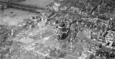 Aerial View of the City of London Showing World War II Bomb Damage