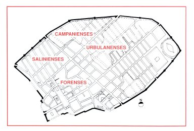 Map of Pompeii's Five Urban Tribes