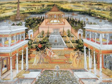 Mughal Princess being Entertained by Female Attendants in a Palace Garden in Rajasthan