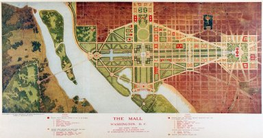 The Mall, Washington D.C. Plan Showing Building Development to 1915