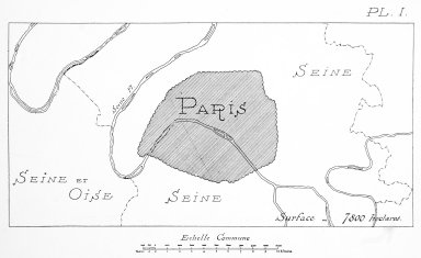 Map of Paris in Relation to the Seine River