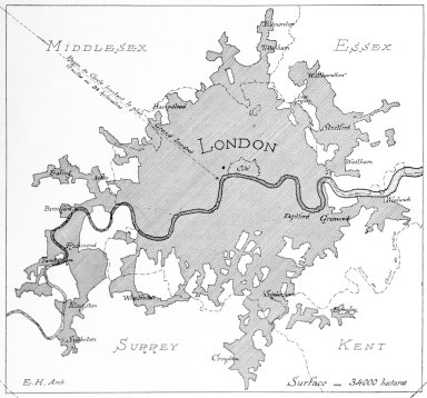 Map of London with the Thames River Indicated