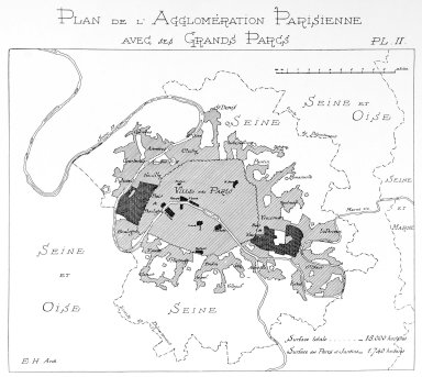 Map of Parisian Suburbs with Large Parks Indicated