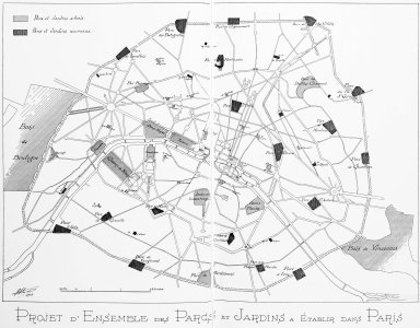 Map of Paris with Existing Parks and Gardens and Proposed Parks and Gardens