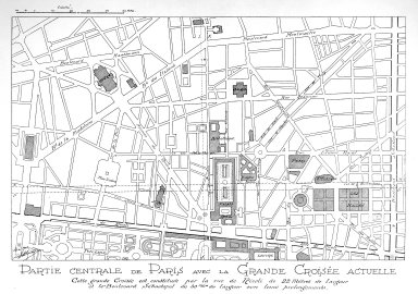 Central Part of Paris with the Great Crossing