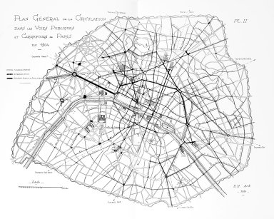 General Plan of the Circulation in the Public Ways and Intersections of Paris in 1904