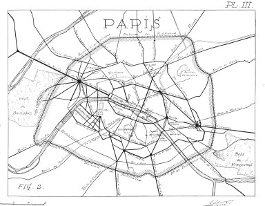Map of Paris with Principal Roads Indicated