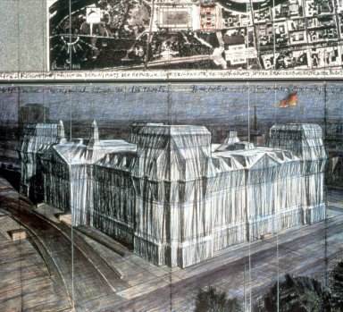 Drawing for Wrapped Reichstag Project for Berlin