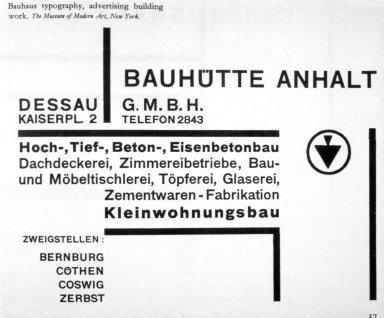 Bauhaus Typography, Advertising Building Work