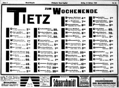 Tietz Zum Wochenende Department Store Advertisement