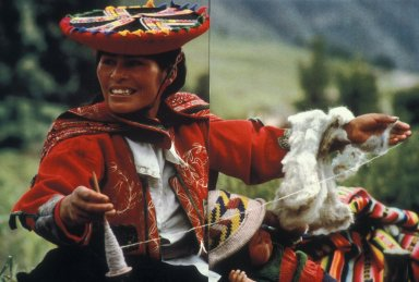 Peruvian Woman Spinning Wool by Hand