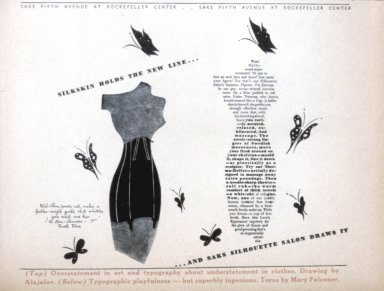 Newspaper Advertisement for Saks Fifth Avenue 'Silkskin Holds the New Line'