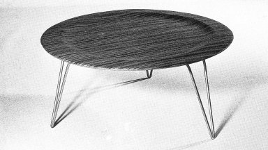 Round Coffee Table with Metal Legs