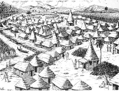 Drawing of a Settlement of Indo-Antilleans, for Roberto Mateizan