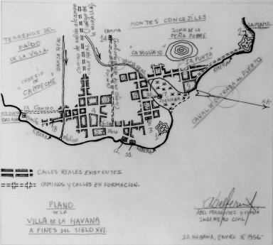 Plan of the Village of Havana at the End of the 16th Century