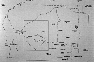 Map of Navajo Reservation with Origins of Textiles in the Read Mullan Collection
