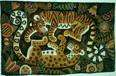 Tiger and Leopard Hooked Rug
