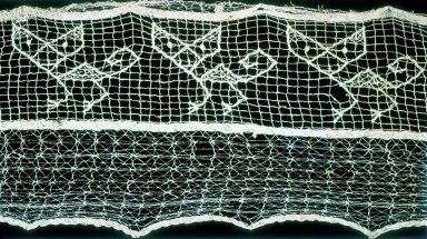 Embroidered Lace and Gauze with Feline Animal Design