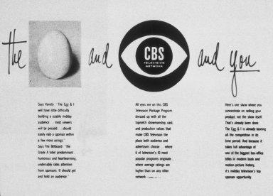 'Egg and I and You' Advertisement for CBS