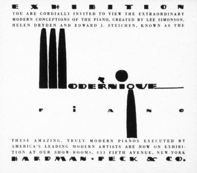 Advertisement for Modernique Piano Exhibition