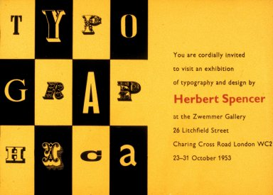 Typography Herbert Spencer Exhibition Card