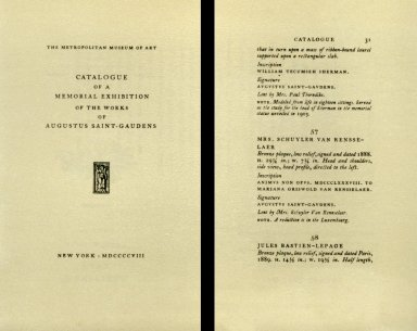 Catalog of a Memorial Exhibition of the Works of Augustus Saint-Gaudens