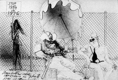 Demonstration Outside Kemper Arena Kansas City, 17 Aug 1976 Political Editorial Cartoon