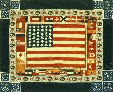 1876 Centennial Commemorative Kerchief Quilt 1