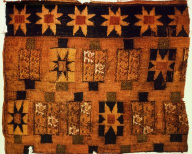 Fragment of Woolen Pattern Weave with Star Design and Tapestry with Stylized Bird Design