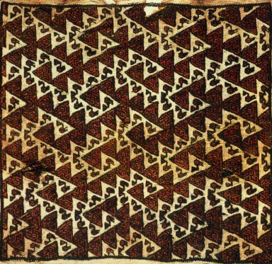 Square Cloth Brocades with Interlocking Bird Design within Repeated Triangles