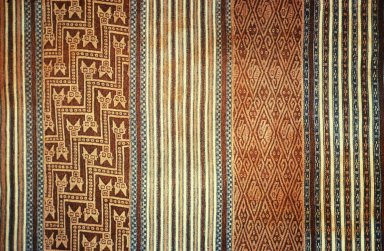 Cotton Cloth in Double Weave with Interlocking Snake Head Design within Vertical Stripes