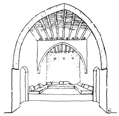 Iwan with Wood Beams on Transverse Arches