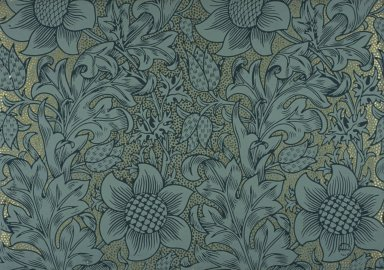 Fritillary Wallpaper Series: Light Blue on Gilt