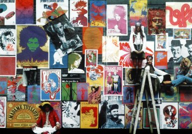 Scene with Poster-Covered Backdrop