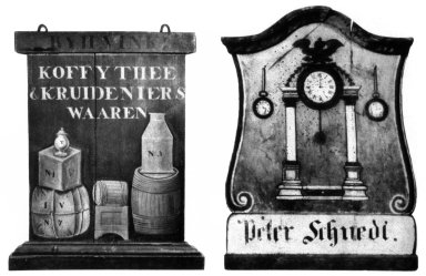 Coffee, Tea, and Grocies Sign and Watchmaker's Sign