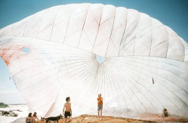 60 Foot Cargo Parachute Used as a Kinetic Air Supported Shelter