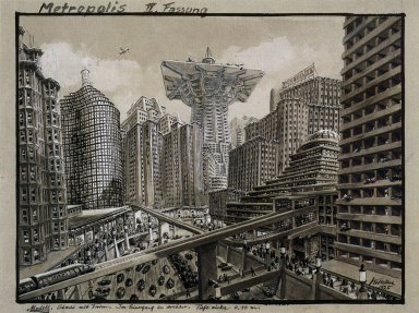 Metropolis Set Design, Second Version: City with Tower