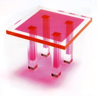Acrylic Four-Legged Four-Cornered Table