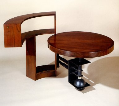 Desk with Curved Bookshelf and Mobile Circular Top