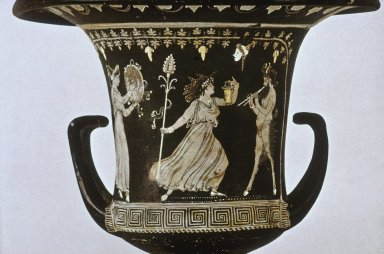 Apulian Calyx Krater with Maenad and Satyr