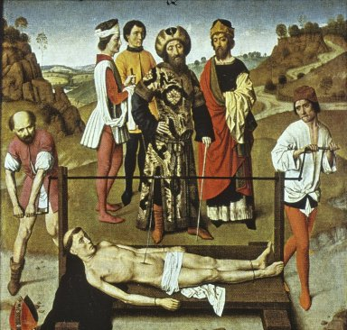 Martyrdom of Saint Erasmus with Saints Jerome and Bernard of Clairvaux