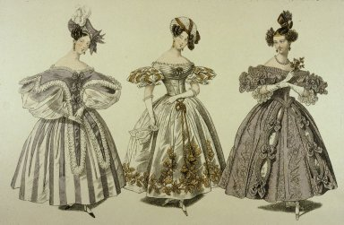 Fashion Plate with Three Dresses