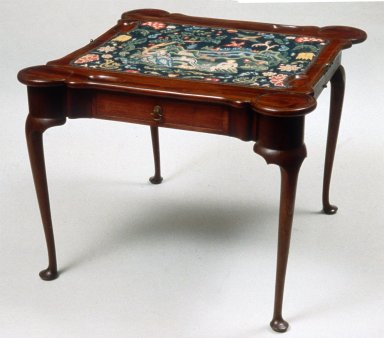 Folding Game Table with Needlepoint